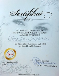 Suzana Gerga - Japansko iscrtavanje-obrva - sertifikat